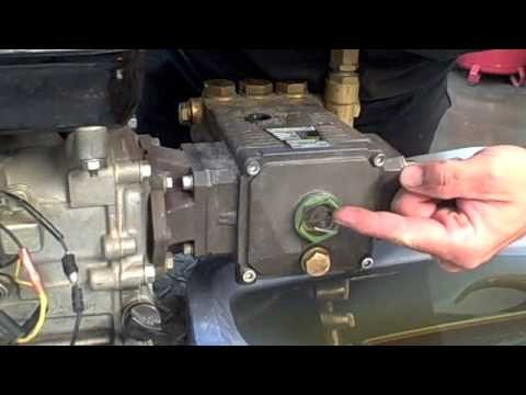 how to change pressure washer oil pump